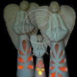 Anioły z szamotu płukanego ażurowe 35 i 55cm