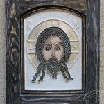 """Ikona ceramiczna """"Mandylion"""" w drewnianej ramce"""