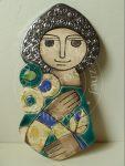 """Dekor ceramiczny """"kobieta z kwiatami"""""""