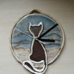 Zegar z kotkiem okrągły
